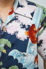 画像3: 倉 アロハシャツ 鯉桜柄 (3)