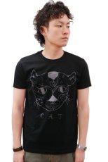 画像2: ケイズクロージング Tシャツ おっさんネコ(ブラック) (2)