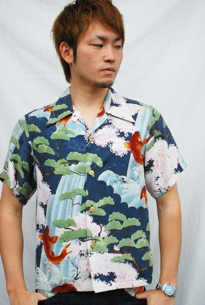 画像1: 倉 アロハシャツ 鯉桜柄 (1)