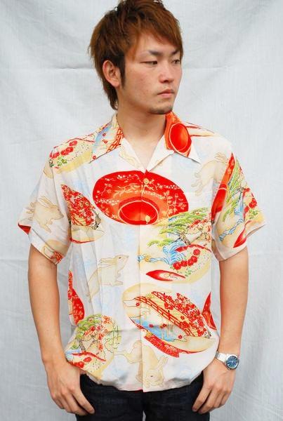画像1: LaLa kai ララカイ 和柄 アロハシャツ HL-023 rabbit セール!! (1)