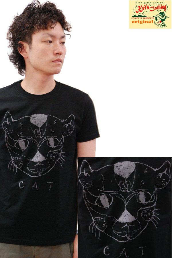 画像1: ケイズクロージング Tシャツ おっさんネコ(ブラック) (1)
