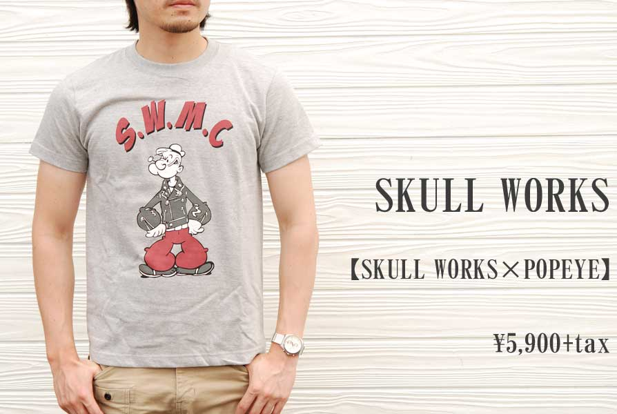 画像1: SKULL WORKS SKULL WORKS×POPEYE Tシャツ グレー メンズ 人気 通販 (1)