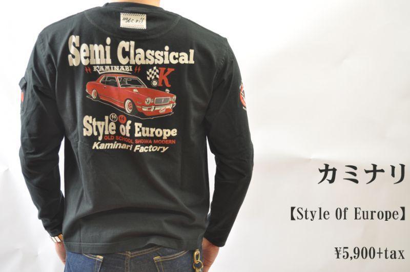 画像1: カミナリ Kaminari 長袖Tシャツ Style Of Europe KMLT-132 BLK エフ商会 メンズ 通販 人気 カミナリ族 (1)