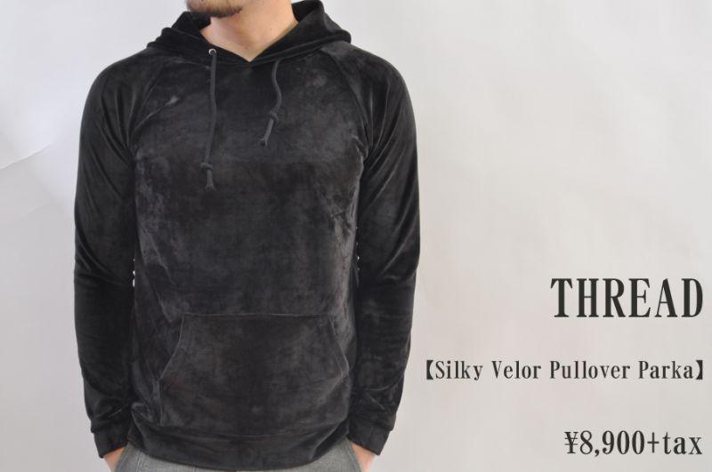 画像1: THREAD Silky Velor Pullover Parka BLACK メンズ 人気 通販 (1)